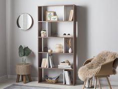 Latitude Run Tryphosa Geometric Bookcase Color: Brown/White Bookcase Desk, Etagere Bookcase, Bookshelf Design, Display Shelves, Storage Shelves, Design Minimalista, Modern Shelving, Bedroom Loft, Decorative Storage