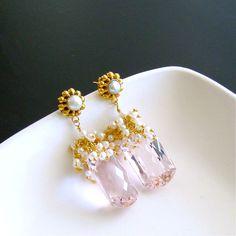 #2 Marisol Cluster Earrings – Pink Topaz Seed Pearls