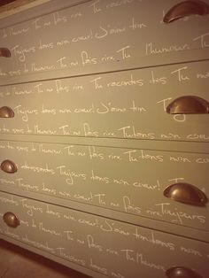 Love letters of endearment painted and stenciled and refurbished by Tom@stonesinteriors