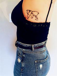 World Map Tattoo #traveltattoo #adventure #worldmap