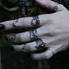 This item is hand-crafted and made to order in Portland, OR. * ULTRA THIN RINGS* These stacking rings are perfect for mixing and matching! Either wear them all at once or mix them in with your favorite rings for extra width and sparkle! Cute Jewelry, Boho Jewelry, Jewelry Rings, Silver Jewelry, Jewelry Accessories, Silver Rings, Mode Grunge, Hipster Grunge, Grunge Goth
