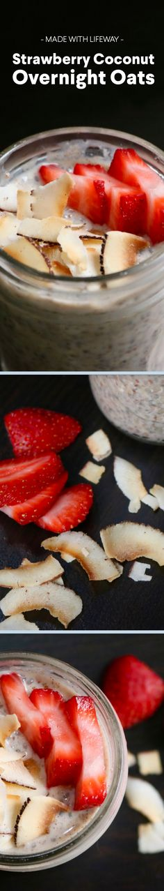 """Katie Sampayo, Bestselling Author of Eat to Thrive: The Anti-Diet Cookbook, shares with us her Strawberry Coconut Overnight Oats recipe. Healthy Snacks, Healthy Recipes, Protein Recipes, Healthy Smoothies, Free Recipes, Tasty, Yummy Food, Overnight Oats, Breakfast Recipes"