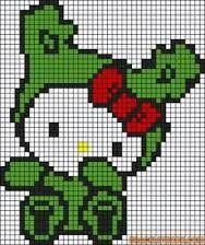Hello Kitty Cross Stitch or Perler Bead Pattern