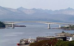 Skye bridge connecting the Isle of Skye to mainland Scotland. I believe at one time the most expensive toll bridge in the world (per kilometer).
