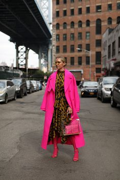 Blair Eadie wearing a pink coat by Jacquemus and a printed leopard dress by Moon River // More fall looks on Atlantic-Pacific Source by atlanticpacific clothing Best Street Style, Looks Street Style, Looks Style, Colorful Fashion, Love Fashion, Winter Fashion, Fashion Outfits, Fashion Trends, Fall Outfits