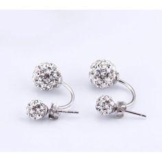 Gyönyörű dupla gömb 925 ezüst kristály fülbevaló Diamond Earrings, Stud Earrings, Jewelry, Jewlery, Jewerly, Stud Earring, Schmuck, Jewels, Jewelery