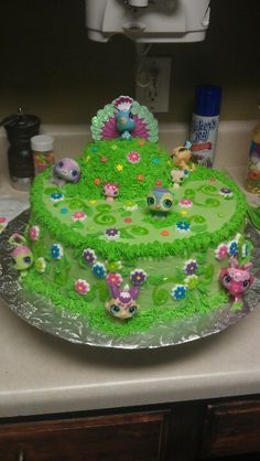 littlest pet shop cake I did for a little girls special birthday