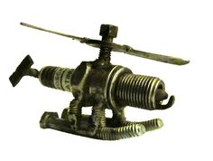 SALE Metal Sculpture Spark Plug Helicopter Re by EFaceDesigns