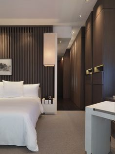 Like the colour combo -Park Hyatt Shanghai hotel, elegant floor to ceiling built-in closets _