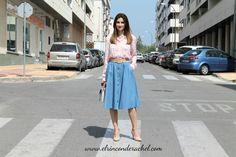 Denim Flare Skirt Outfit www.elrinconderachel.com #romwe #ootd #wiwtd #denim #skirt #blogger #fashion #moda #denimflareskirt #faldadenim #faldavuelo #fashionblogger