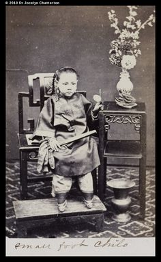 """Girl with bound feet 1870-1890. The feet would then regularly be unbound, washed and kneaded, with additional pain often caused by beating the sole of the foot to keep the bones broken. The feet were then rebound – ever more tightly each time...."