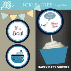 """PRINTABLE Cupcake Toppers """"Whale of a Time"""" PERSONALIZED (Style 13040)"""