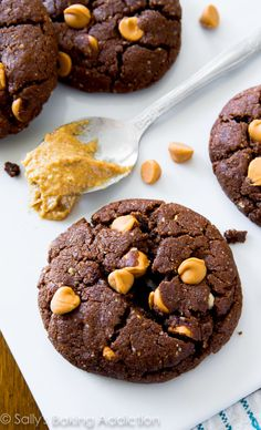 These thick and fudgy Flourless Peanut Butter Brownie Cookies are made with only 7 ingredients. Ultra chewy, melt-in-your-mouth, and gluten free! @sallybakeblog