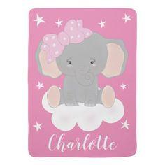 Shop Elephant Baby Girl Pink Baby Blanket created by MagicOwlStudio. Baby Girl Elephant, Elephant Birthday, Cute Elephant, Pink Baby Blanket, Soft Baby Blankets, Elephant Blanket, Cool Patterns, Your Child, Pink Girl