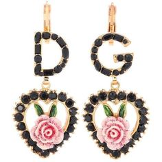 Dolce & Gabbana Crystal-Embellished Earrings (2.085 RON) ❤ liked on Polyvore featuring jewelry, earrings, black, earring jewelry, dolce gabbana earrings and dolce gabbana jewelry
