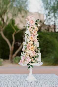 "From the editorial ""Desert Beauty Wedding In Arizona."" The bride says, ""Throughout our planning, we wanted to work off of the desert theme and picked blush pink, white, and natural desert shades as our wedding colors. The result? Pure magic. 