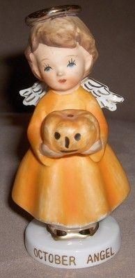 Vintage OCTOBER ANGEL Halloween Figurine Japan Pumpkin Orange Dress Description October Angel DESCRIPTION You