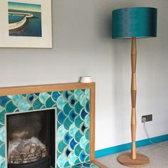 Teal ikat drum shade in its new home! Happy customer!