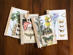 In this video I make botanical themed booklets using old book pages. Handmade Journals, Handmade Books, Vintage Journals, Art Journals, Book Journal, Bullet Journal, Nature Journal, Altered Art, Altered Books
