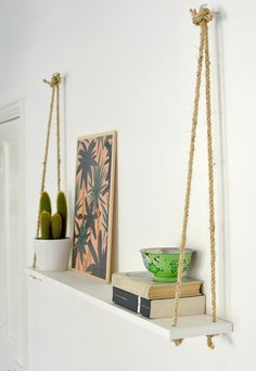 DIY Bedroom Decor Ideas - DIY Easy Rope Shelf - Easy Room Decor Projects for The Home - Cheap Farmhouse Crafts, Wall Art Idea, Bed and Bedding, Furniture Diy Hacks, Interior Styling, Interior Decorating, Apartments Decorating, Decorating Ideas, Decoration Bedroom, Wall Decor, Cool Diy, Easy Diy