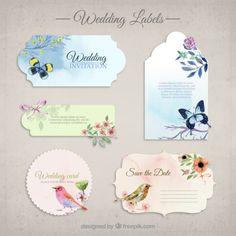 Coleção dos convites do casamento Vetor grátis