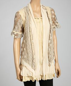Caramel Drape Silk-Blend Tunic by Pretty Angel #zulily #zulilyfinds