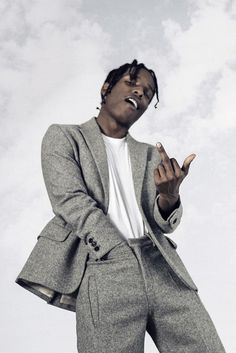 ASAP Rocky wearing Acne Standard Winter White T-Shirt, Acne FW15 Wool Suit