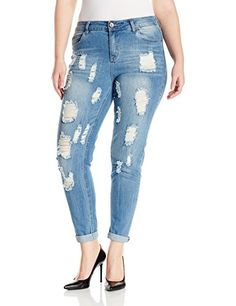 Fashion Bug Womens Plus Size Firestone Medium Wash Heavy Destructed Skinny Jean www.fashionbug.us #PlusSize #FashionBug