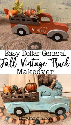 Dollar General Fall Vintage Truck Makeover – Lizzy & Erin - Diy Home Decor Dollar Tree Fall, Dollar Tree Decor, Dollar Tree Crafts, Dollar Tree Pumpkins, Wood Pumpkins, Thanksgiving Crafts, Holiday Crafts, Diy Fall Crafts, Cork Crafts