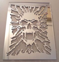 Skull Mirror, Shatterproof LASERCUT Stencil, Acrylic Mirror, Bedroom NEW From what I can half way figure conversion is about 20 bucks American Skull Stencil, Stencil Art, Skull Art, Skull Furniture, Totenkopf Tattoos, Mirrors For Sale, Skull Decor, Stencil Patterns, Craft Ideas