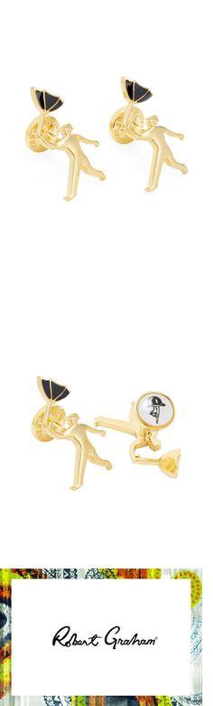 Cufflinks 137843: Nib Robert Graham Man And Umbrella Gold Cufflinks Ret: $110.00 Rare !! -> BUY IT NOW ONLY: $52.11 on eBay!