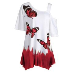 Large Size Summer Ladies Casual T Shirt 2019 New Cut Out Half Sleeve butterfly Print Loose Tops T Shirt Plus Size Women Clothing Top Fashion, Plus Size Fashion, Womens Fashion, Kids Fashion, Casual T Shirts, Casual Tops, Off Shoulder T Shirt, Shoulder Strap, Top Streetwear