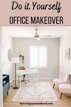 Check out this home office makeover on a budget Home Office Space, Home Office Design, Home Office Decor, Diy Home Decor, Decor Crafts, Pink Velvet Chair, Office Makeover, Home Decor Inspiration, Decor Ideas