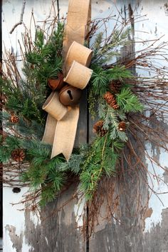 Twig wreath with burlap sash by Sweet Something Designs on Etsy.