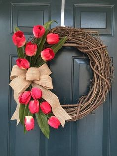 Spring Tulip Grapevine Wreath Mothers Day Wreath Red Tulip Wreath Valentines Day Grapevine Wreath Gift for Her beauty flowers Diy Spring Wreath, Spring Door Wreaths, Easter Wreaths, Diy Wreath, Spring Crafts, Grapevine Wreath, Wreath Ideas, Mothers Day Wreath, Valentine Day Wreaths