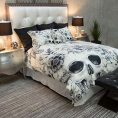 Duvet vs Comforter Which is Better? - Bedding Set - Ideas of Bedding Set - Featherweight Skull Bedding Black Floral Printed on Cream Comforter Cover Sugar Skull Duvet Cover Sugar Skull Bedding Set Bed Linen Design, Bed Design, Bedding Master Bedroom, Bedroom Decor, Skull Bedroom, Neutral Bed Linen, Matching Bedding And Curtains, Bed Linen Sets, Gothic Home Decor