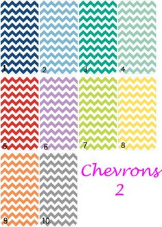 Available colors for Chevron 2 designs