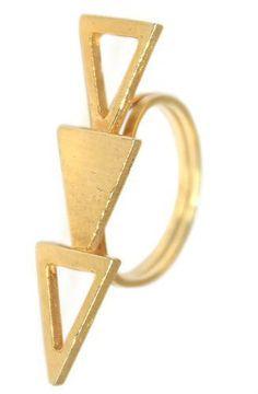 TRIPLE GOLDEN TRIANGLE RING by Jessica De Carlo