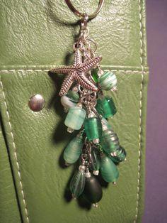 Green Glass Bead Purse Charm / Key Chain by FoxyFundanglesByCori, $10.00