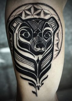 west coast native art bear tattoo. *Reminds me of Brother Bear, the Disney movie*