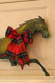 ❊ Tartan Christmas ❊ /The Polohouse, plaid ribbon decoration Tartan Christmas, Merry Christmas, Country Christmas, All Things Christmas, Christmas Time, Tartan Plaid, Tartan Decor, Equestrian Decor, Metal Art