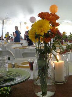 My table decor. Mason jars and wild flowers Graduation Flowers, Wild Flowers, Mason Jars, Table Decorations, Furniture, Home Decor, Decoration Home, Room Decor, Wildflowers
