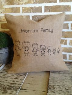New Item Special  Family Stick Figure Burlap by SimplyFrenchMarket