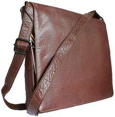 Kenneth Brown Large Men's Brown Leather Messenger Bag