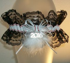 White Silver 2016 and Black Lace Baseball Softball Feather Fur Glitz Shimmer Sparkle Prom or Wedding Garter