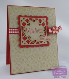 Kendra Wietstock for Crafter's Companion. Die'sire Create-A-Card - Lattice w/Square Die'Sire Essentials Dies - Squares, Scallop Squares Embossalicious - Petite Dots Vintage Floral Sentimentals - Greetings @CraftersCompUS