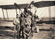 B.E.12a at Florina. The airmen pictured are: L-R, Du Ross, Maxwell, Longinotto, Goulding and David. Goulding