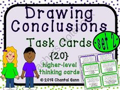 Drawing Conclusions Task Cards 20 Higher Level Thinking Cards grade Reading Groups, Reading Strategies, Reading Activities, Reading Skills, Guided Reading, Teaching Reading, Reading Comprehension, Reading Art, Reading Centers