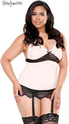 Plus Size Blushing Beauty Camisole Set, Plus Size Sexy Pink and Black Lace Cami Set, Plus Size Cami Lingerie Set