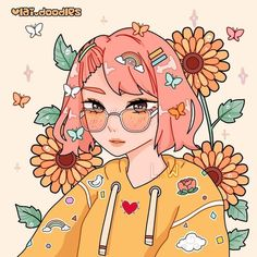 🌻🌻🌻 - I've been missing spring and summer lately, so here's a warm drawing! It's been snowing here a lot and I feel like I haven't seen… Arte Do Kawaii, Kawaii Art, Cartoon Art Styles, Cute Art Styles, Aesthetic Art, Aesthetic Anime, Cute Kawaii Drawings, Anime Art Girl, Pretty Art